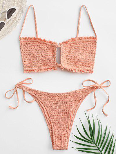 Shirred Bralette Cutout Ruffle Bikini Swimwear