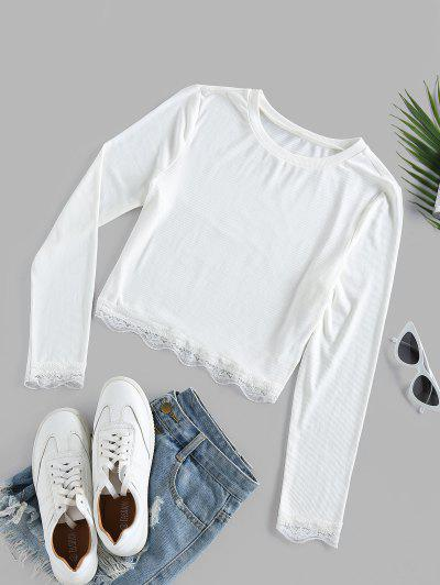ZAFUL Lace Insert Ribbed Crop T-shirt - White S