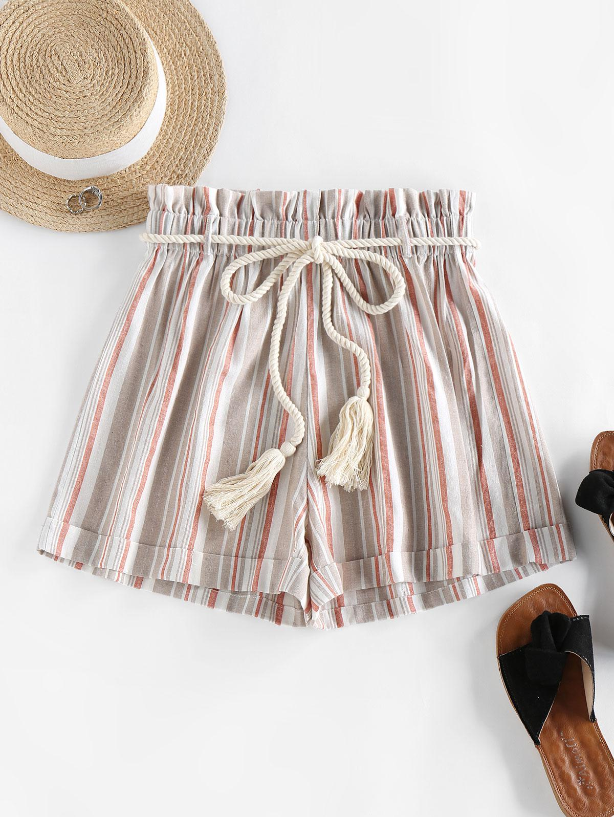 ZAFUL Rope Belt Striped Paperbag Shorts