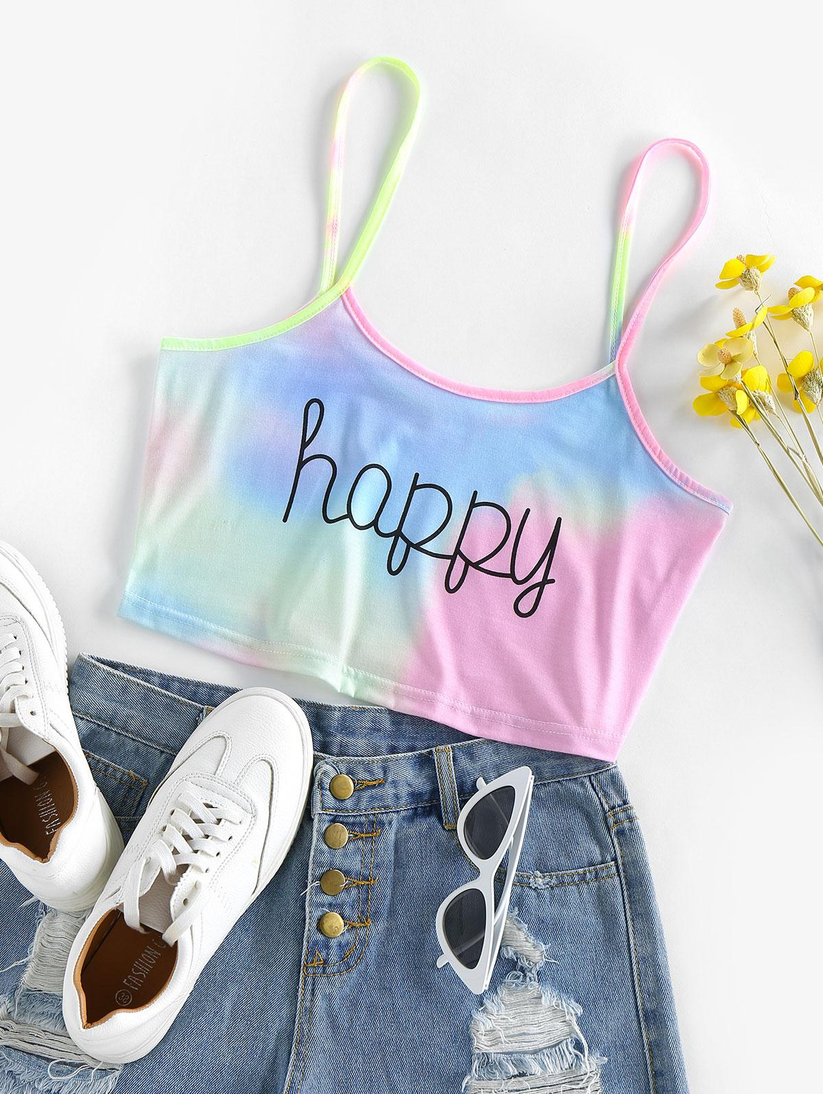 ZAFUL Tie Dye Happy Graphic Crop Cami Top