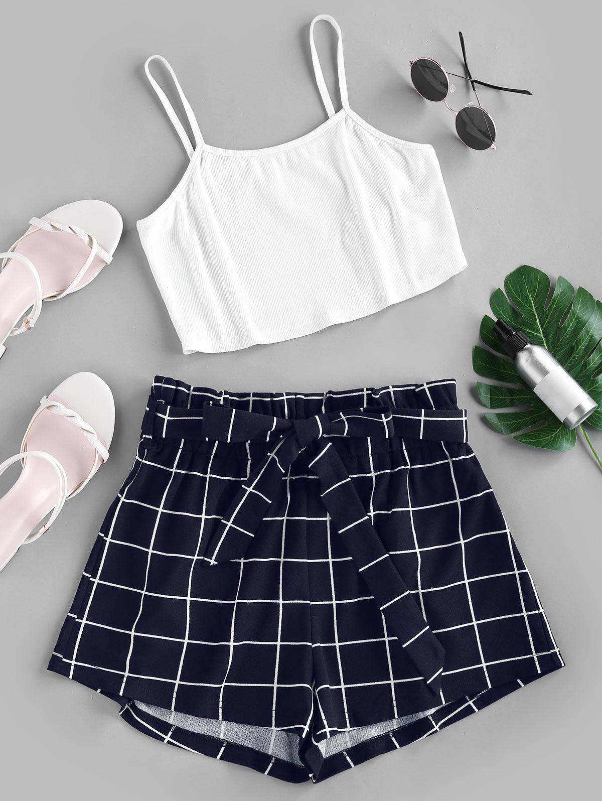 ZAFUL Crop Top and Grid Shorts Two Piece Set