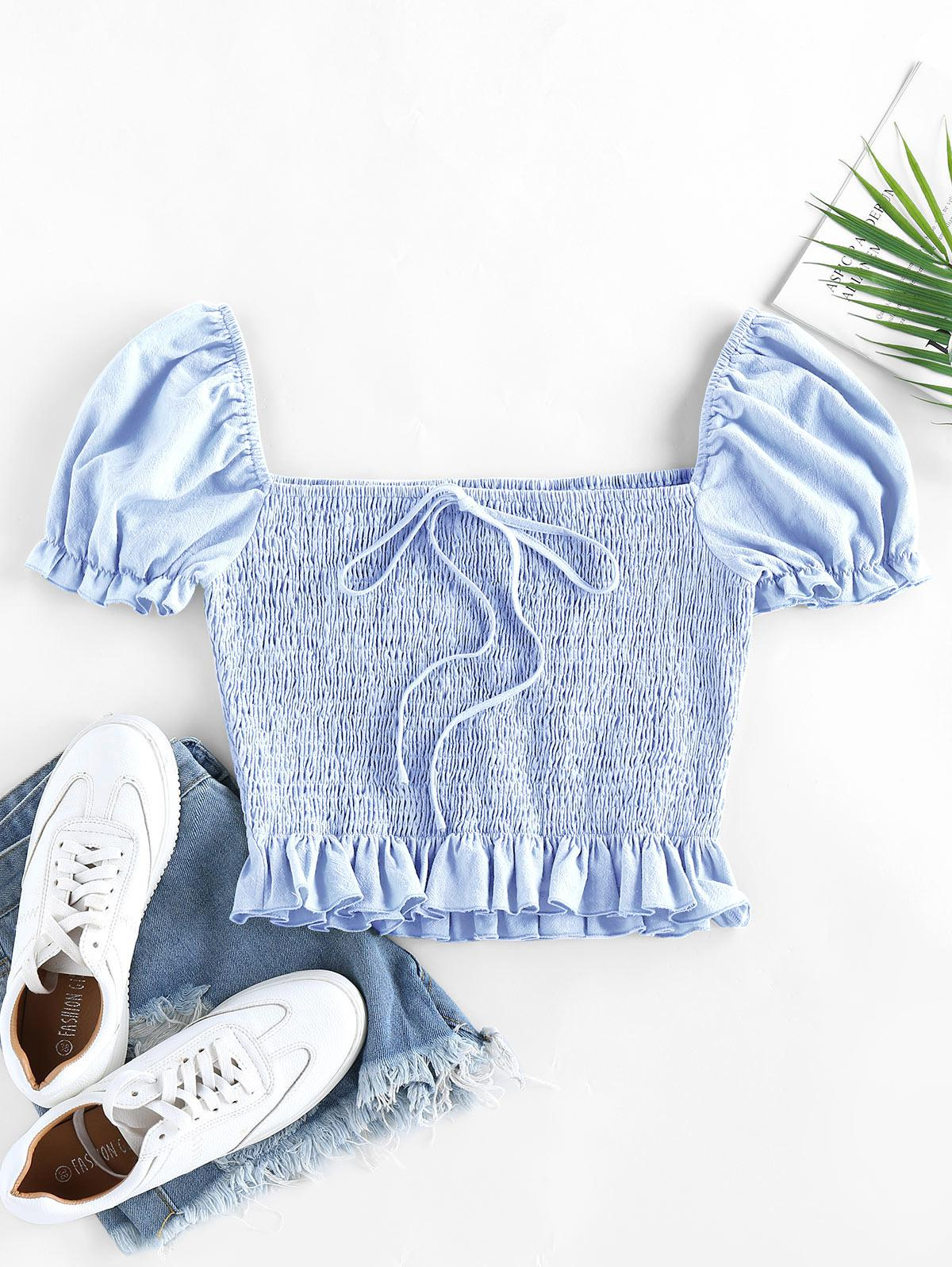ZAFUL Smocked Bowknot Puff Sleeve Ruffle Blouse