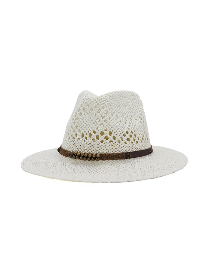 Beaded Embellished Straw Jazz Hat