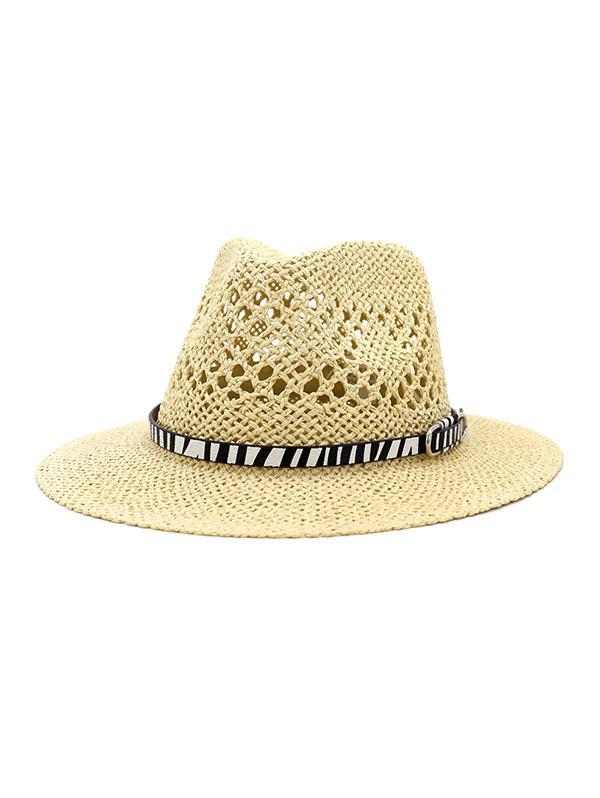 Straw Jazz Hat With Animal Print Belt