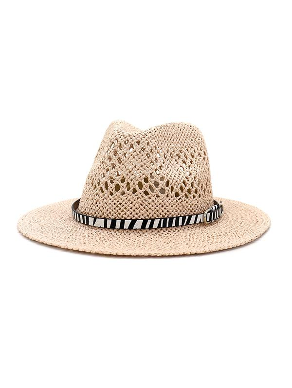 Straw Jazz Hat With Animal Print Belt