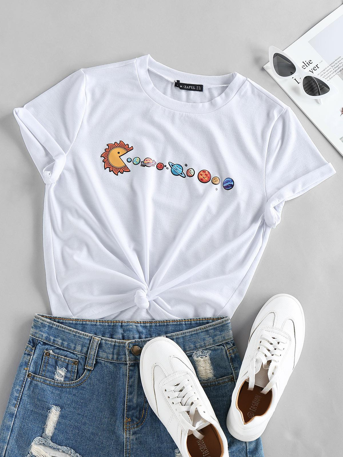 ZAFUL Planet Print Short Sleeve T-shirt