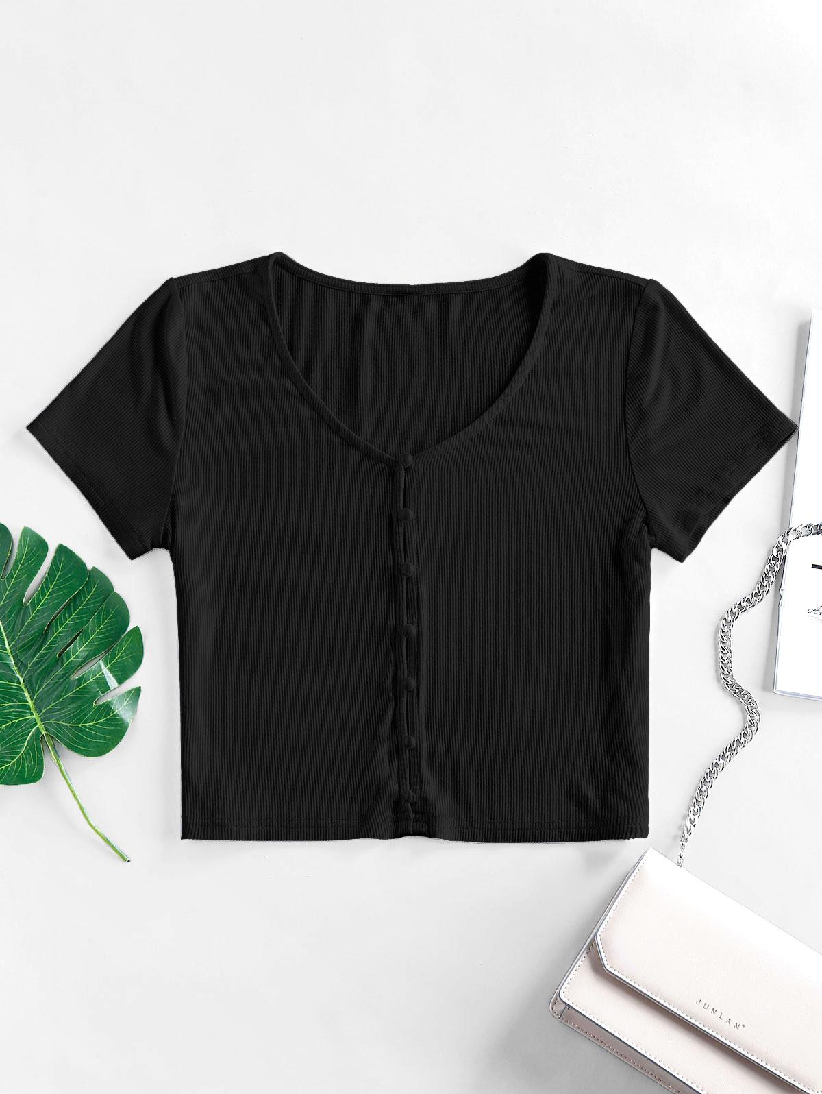 ZAFUL Ribbed Loop Button V Neck Crop T-shirt