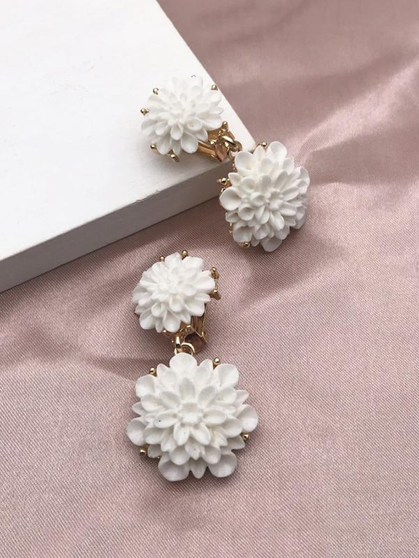 Resin Flower Clip On Earrings