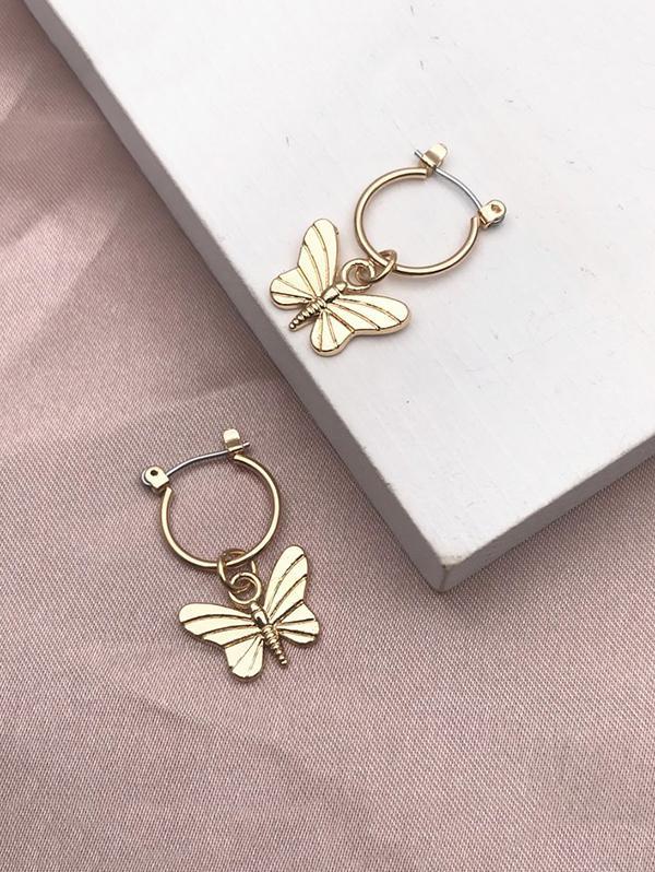 Carved Butterfly Pendant Hoop Earrings