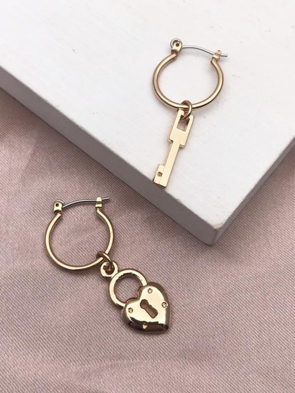 Lock Key Pendant Hoop Earrings