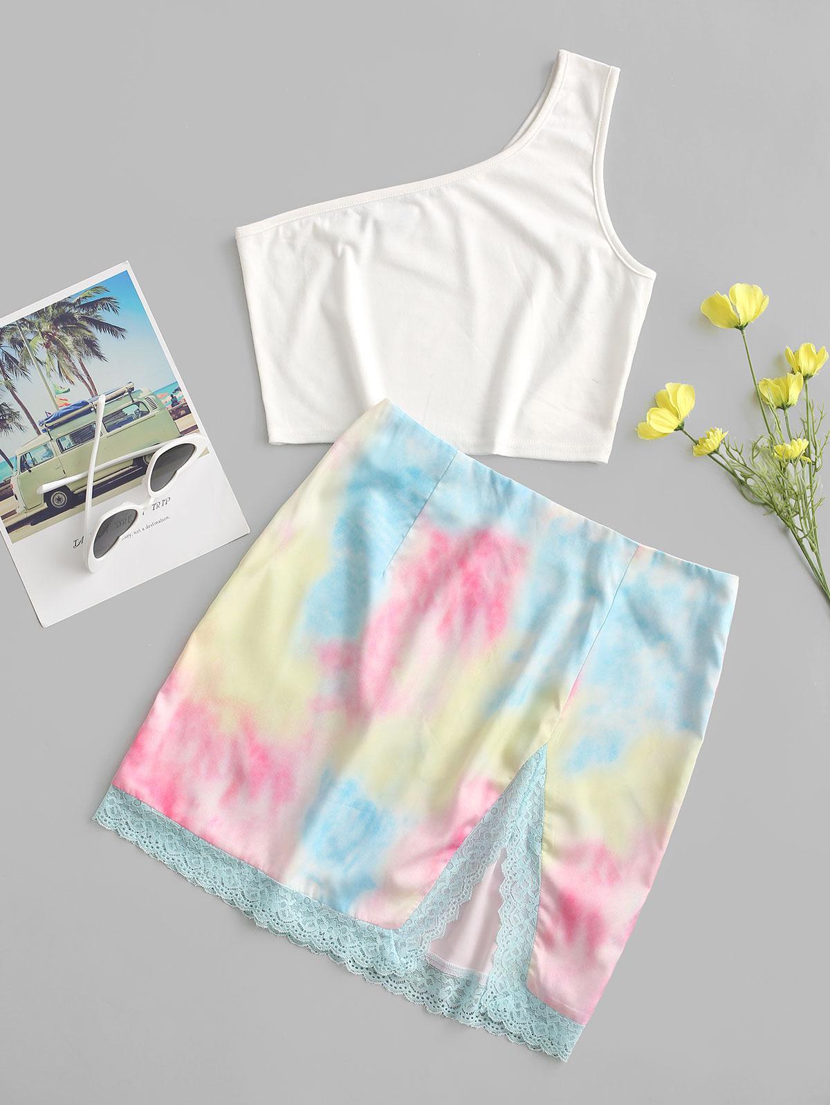 ZAFUL One Shoulder Lace Panel Tie Dye Two Piece Dress