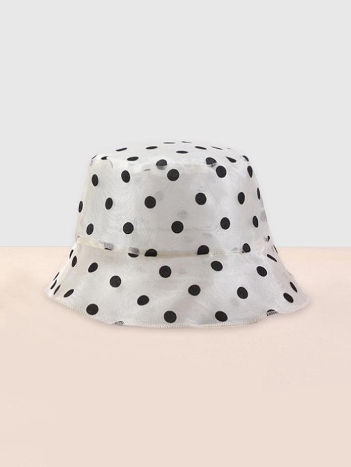 Polka Dot Print Sheer Mesh Bucket Hat