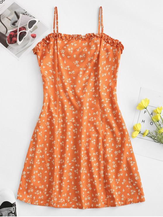 Robe Fleurie Taille Plissée à BretelleàOurletenLaitue - Orange M