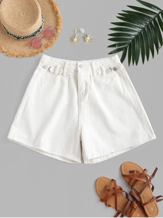 chic High Waisted Buttoned Tabs Denim Shorts - WHITE S
