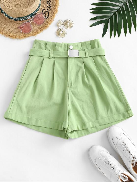 women's Buckle Belted Denim Paperbag Shorts - GREEN M