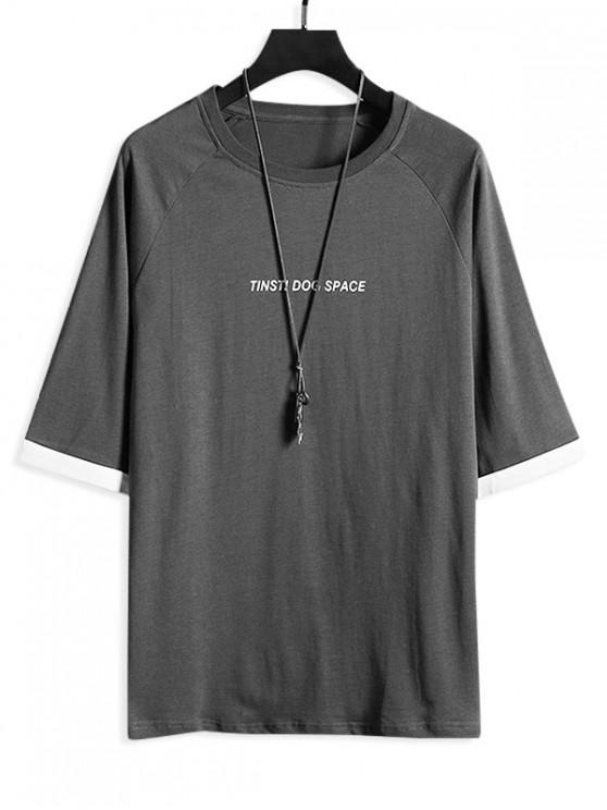 outfit Letter Print Cuffed Sleeve Casual T-shirt - GRAY 3XL