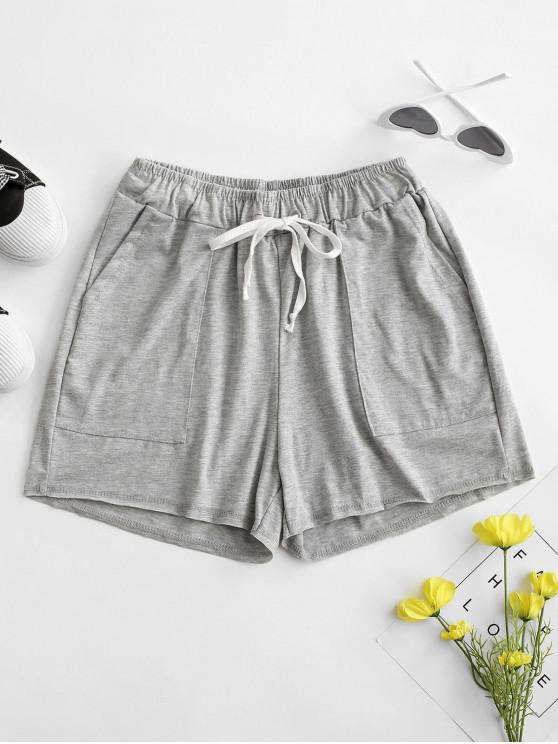 women Drawstring Marled Pull On Shorts - LIGHT GRAY S