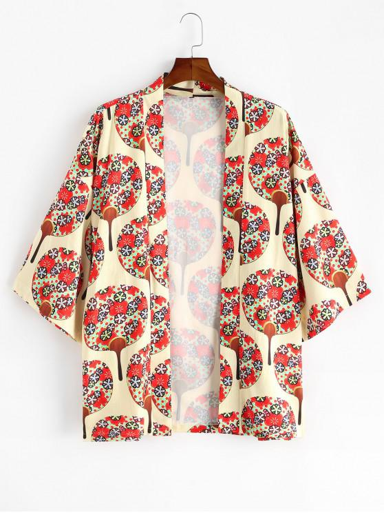 ladies Floral Fan Print Open Front Kimono Cardigan - MULTI-A S