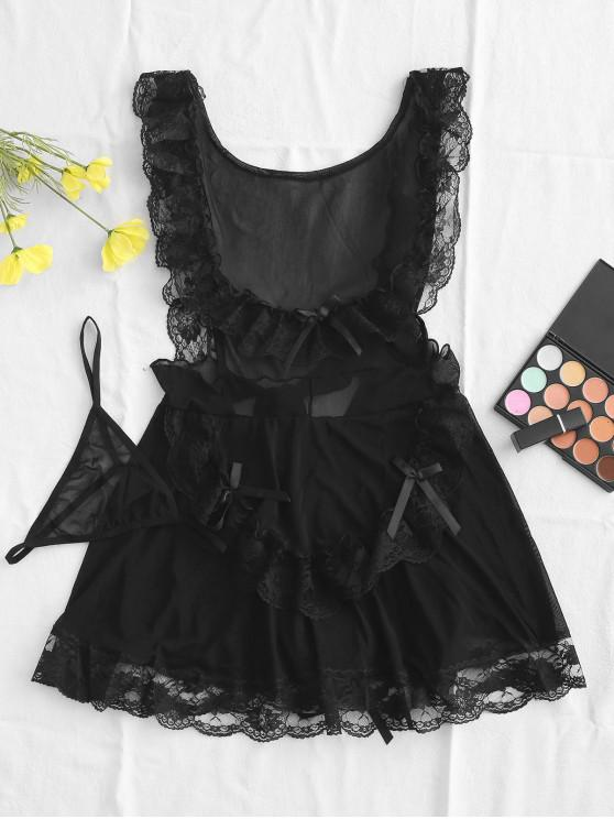 shops Lace and Mesh Tiered Flounce Babydoll Set - BLACK ONE SIZE
