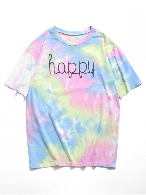 trendy Tie Dye Happy Print T-shirt - LIGHT BLUE 2XL