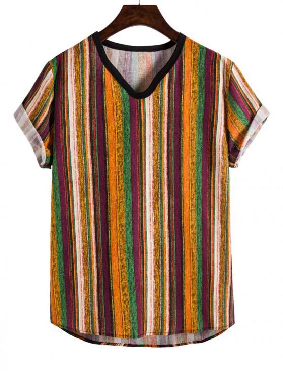 Camiseta de Cuello V con Pintura Tribual a Rayas - Amarilla de Abeja  M