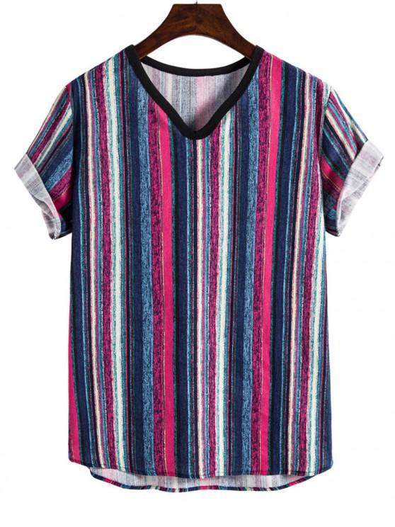 buy Tribal Paint Striped V-neck T-shirt - BLUEBERRY BLUE L