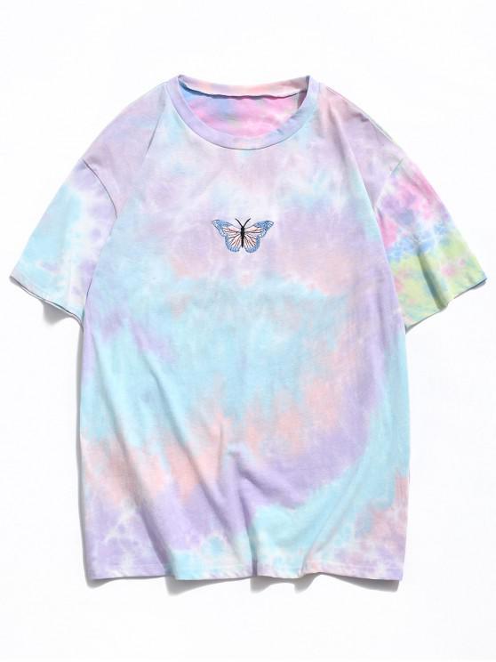 Embroidery Butterfly Pattern Tie Dye T-shirt - وردي فاتح S