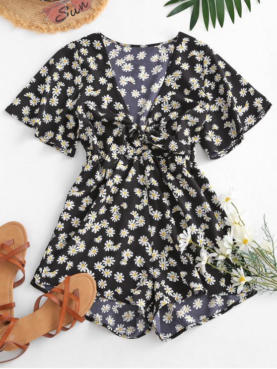 ladies Elastic Waist Daisy Print Tie Front Romper - BLACK M