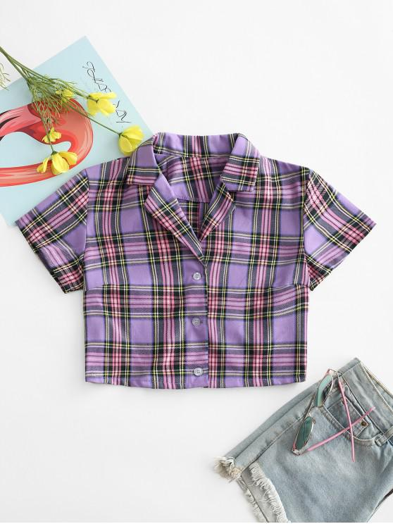 outfit Plaid Button Up Lapel Blouse - PURPLE L