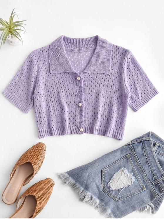 trendy Eyelet Pearly Button Up Knitted Top - PURPLE MIMOSA ONE SIZE