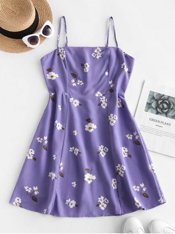 best Floral Shirred A Line Sundress - PURPLE M