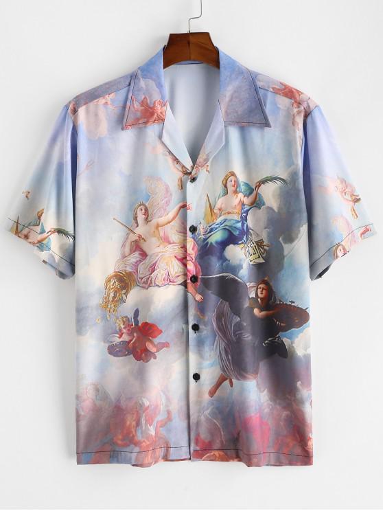 fancy Button Up Allover Renaissance Art Print Shirt - LIGHT BLUE 2XL