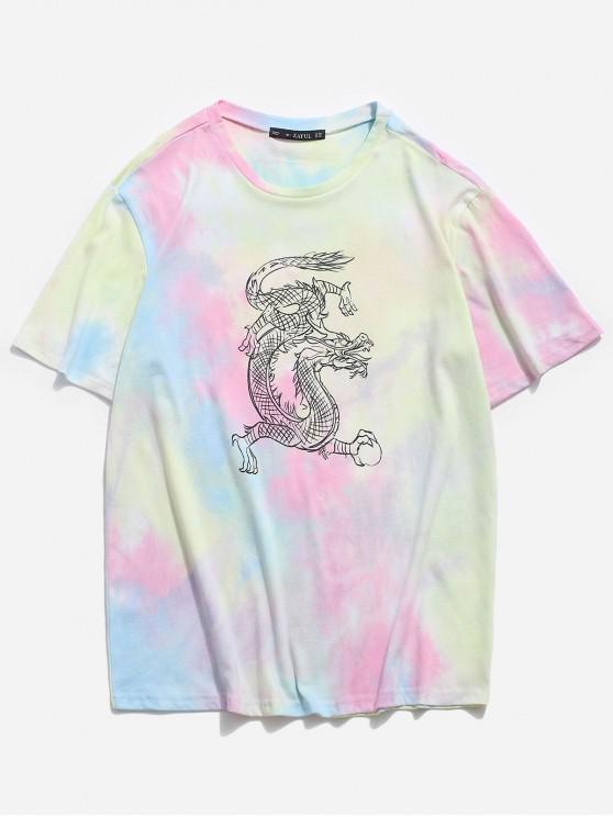 fancy Dragon Tie Dye Print Short Sleeve T-shirt - LIGHT BLUE 2XL