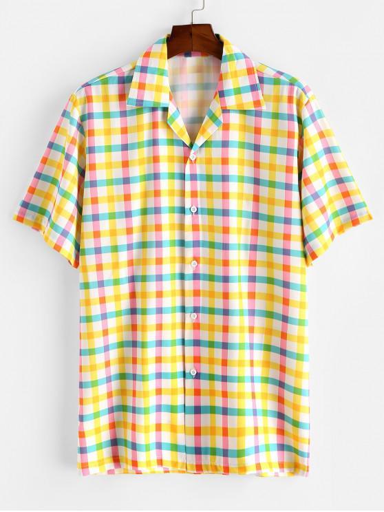 buy Colorful Gingham Print Camp Collar Shirt - CORN YELLOW M