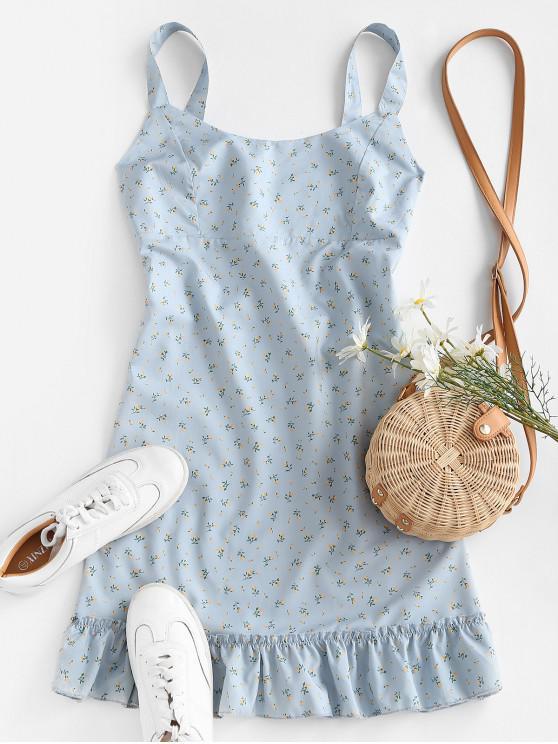 womens Ditsy Print Ruffle Hem Belted Mini Dress - LIGHT BLUE S