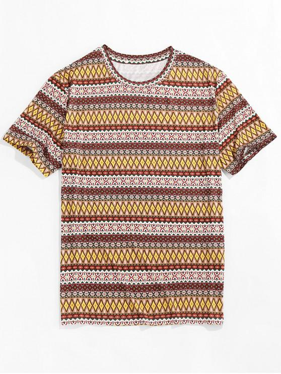 affordable ZAFUL Allover Tribal Print Round Neck T-shirt - MULTI XL