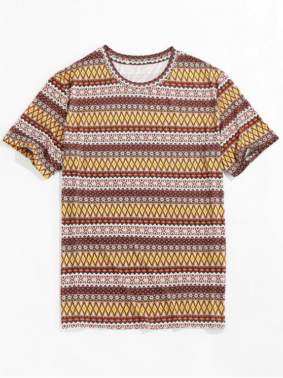 ZAFUL Allover Tribaldruck T-Shirt mit Rundhalsausschnitt - Multi 2XL