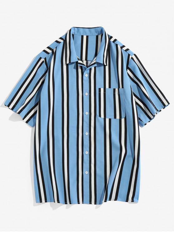 unique Vertical Striped Pocket Button Up Shirt - LIGHT BLUE XL