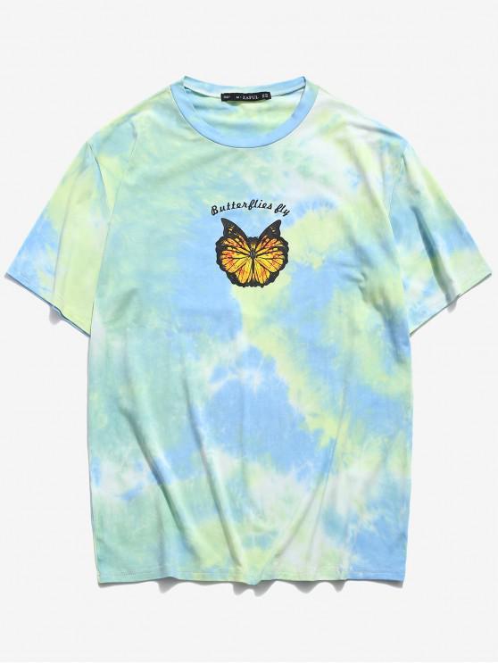 womens Butterfly Tie Dye Print Short Sleeve T-shirt - LIGHT GREEN 2XL