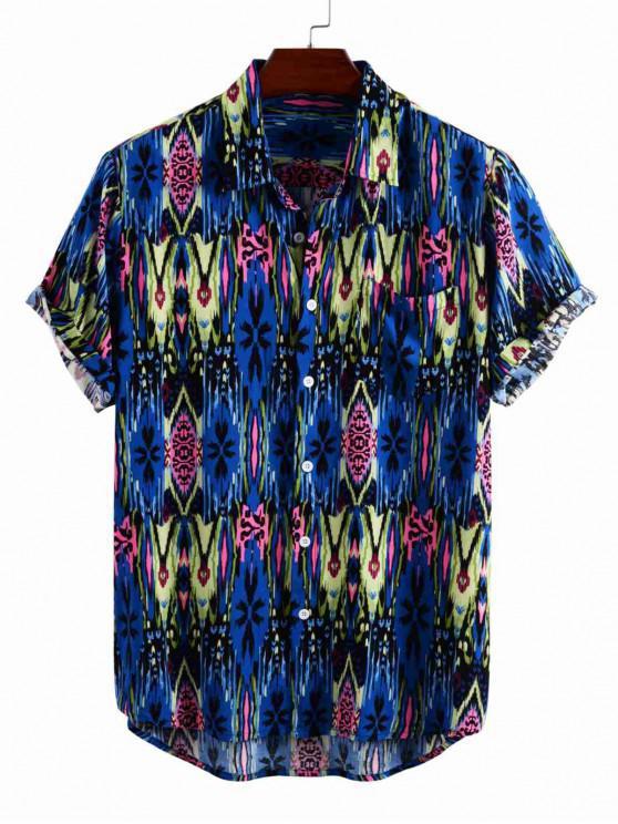 Camisa con Botón y Bolsillo en Pecho - Azul Profundo M