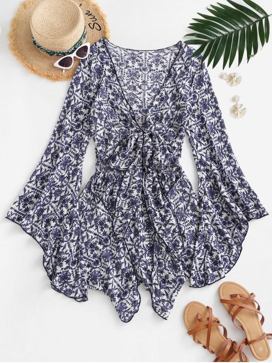 fashion Flower Print Flare Sleeve Tie Front Romper - BLUE M