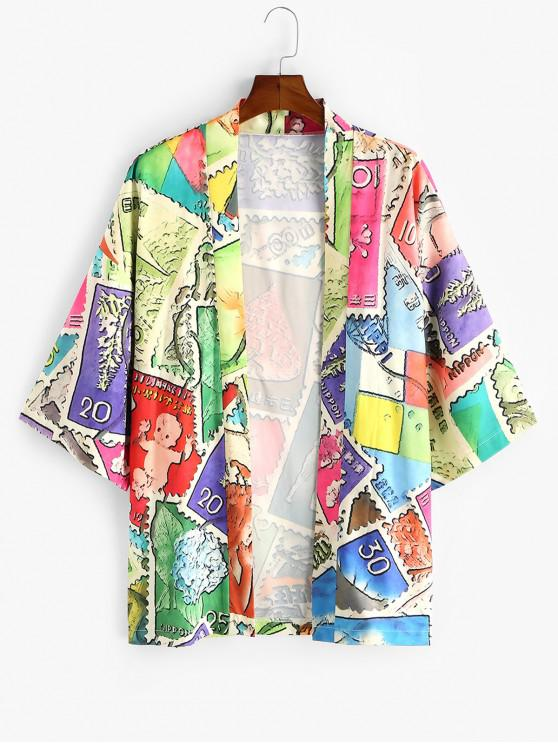 outfits Animal Patchwork Print Open Front Kimono Cardigan - MULTI-A M