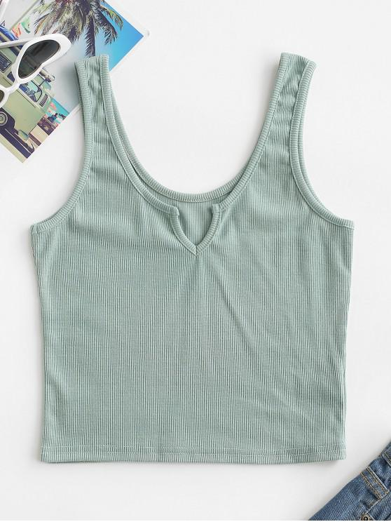 sale V Notched Ribbed Crop Tank Top - LIGHT GREEN M