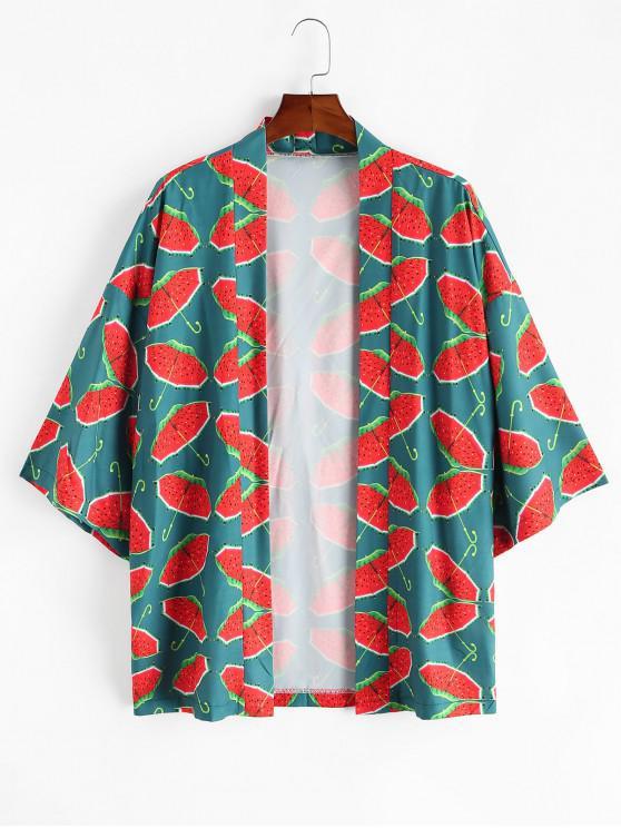 lady Watermelon Umbrella Print Open Front Kimono Cardigan - MULTI-A L