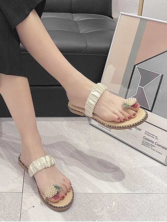 Pineapple Toe Ring Flat Slides - Beige EU 38