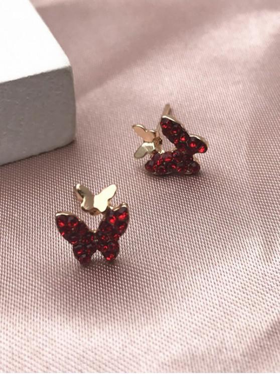 new Butterfly Rhinestone Stud Earrings - RED
