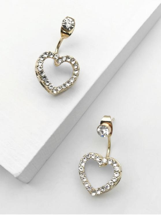 lady Heart-shaped Rhinestone Earrings - GOLDEN