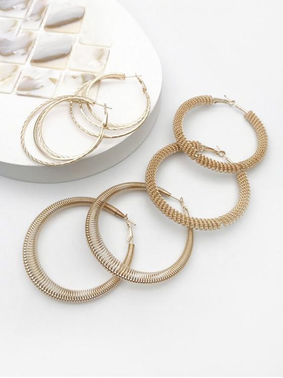 ladies 3Pairs Helical Hoop Earrings Set - GOLDEN