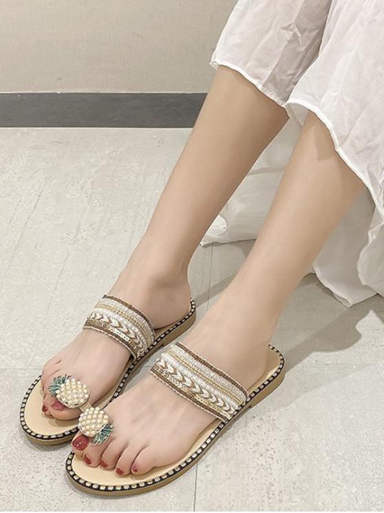 fancy Pineapple Toe Ring Faux Pearl Slides Sandals - BEIGE EU 38