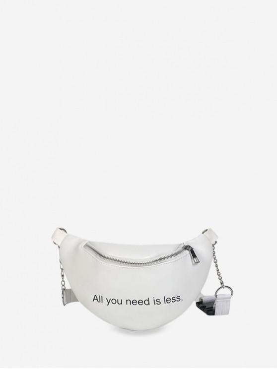 womens Letter Print Multi-purpose PU Crossbody Bag - WHITE